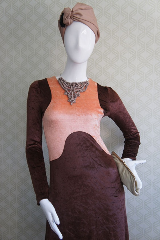 Brownie & Coral Espectacular Maxi dress 60's en velour