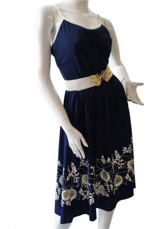 vestido vintage azul marino